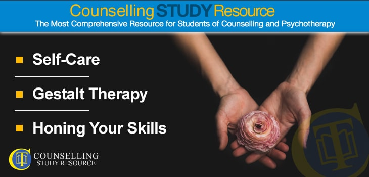 Counselling Tutor Podcast 16 - Self-Care – Gestalt Therapy – Honing Your Skills. A flower resting in a woman's hands.