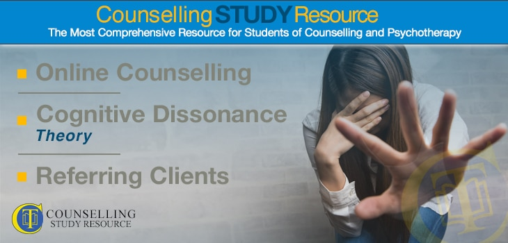 CT Podcast Ep28 Online Counselling, Cognitive Dissonance Theory, Referring Clients. A woman covering her face with one hand while her other hand extends outward as if to ward off anyone from coming near her.