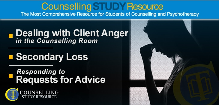 Counselling Tutor Podcast 042 – Dealing with Client Anger in the Counselling Room – Secondary Loss – Responding to Requests for Advice