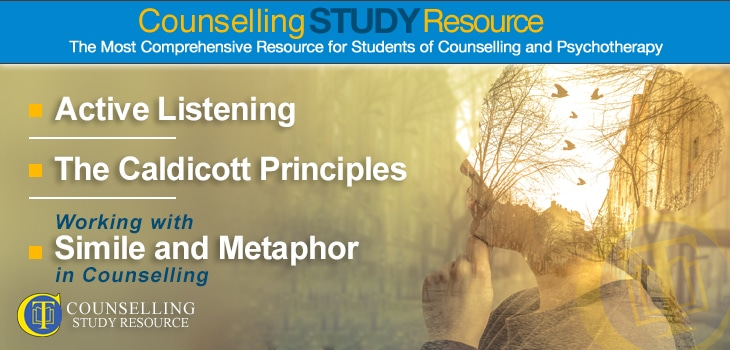 Counselling Tutor Podcast 073 – Metaphor in Counselling. A double exposure image of a woman in profile layered with a background image of a street with houses, birds, and trees