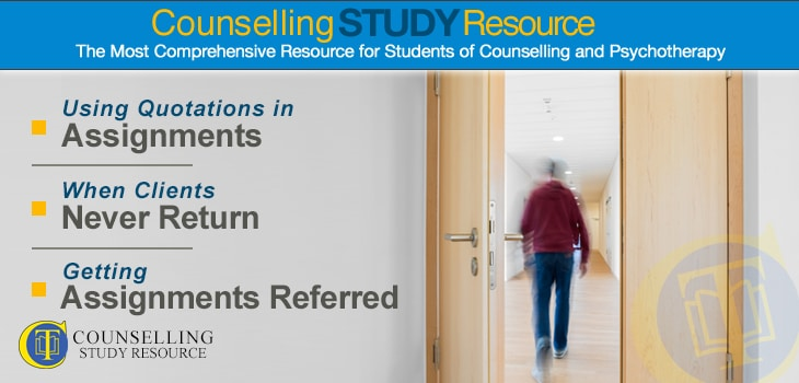 Counselling Tutor Podcast 078 – Using Quotations in Assignments – When Clients Never Return – Getting Assignments Referred. An open door showing a man leaving