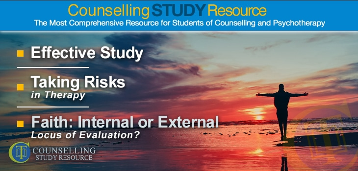 CT Podcast Ep 082 – Effective Study – Taking Risks in Therapy – Faith: Internal or External Locus of Evaluation? - A silhouette of a man with his arms outspread while facing the setting sun on a beach