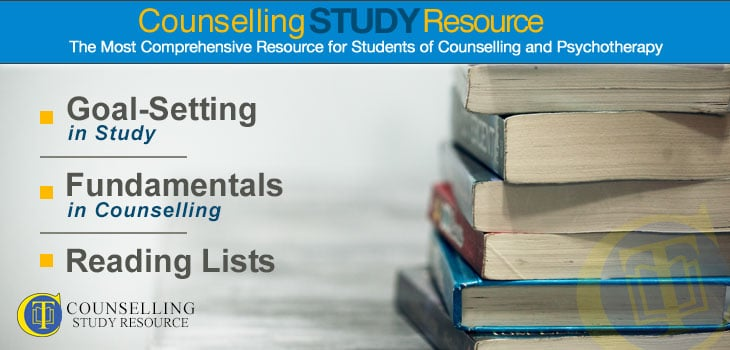Counselling Tutor Podcast 084 – Goal-Setting in Study – Fundamentals in Counselling – Reading Lists. A stack of books