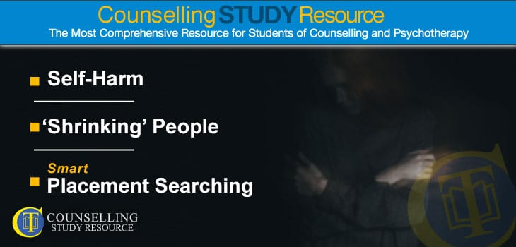 Counselling Tutor Podcast 087 – Self-Harm – 'Shrinking' People – Smart Placement Searching. A blurred image of a girl looking sad and disturbed, trying to hug herself