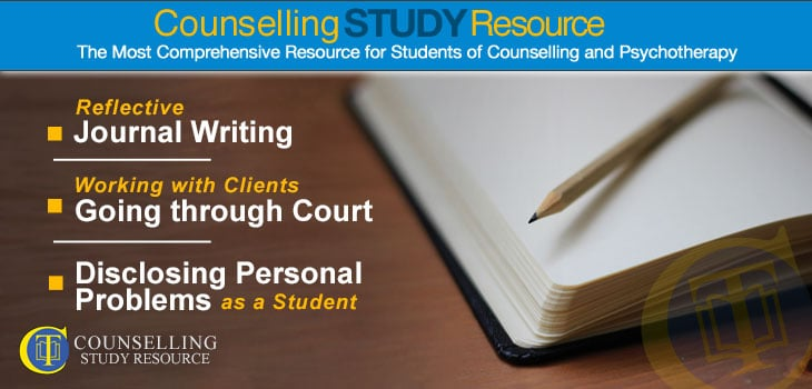 Counselling Tutor Podcast 088 – Reflective Journal Writing – Working with Clients Going through Court – Disclosing Personal Problems as a Student. A open blank notebook and a pencil on top of it