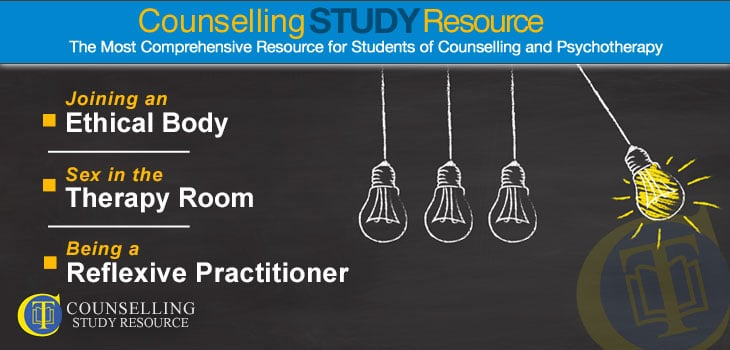 Counselling Tutor Podcast 90 - Reflexivity in Counselling. Chalk drawing of four lightbulbs on a blackboard. One of the bulbs is 'lighted' and is poised to swing against the other three which are lined up in a row.