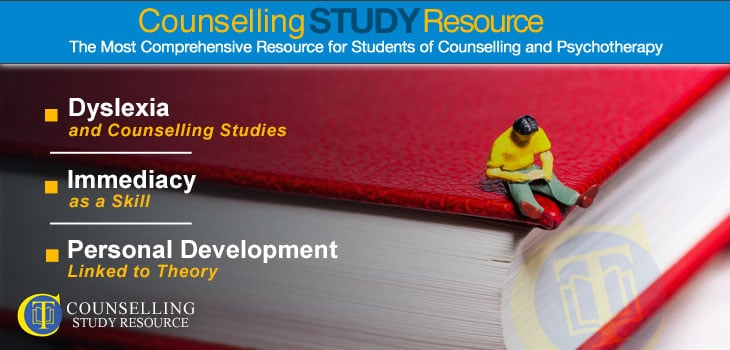 Counselling Tutor Podcast 93 - Dyslexia and Personal Development Linked to Theory in Counselling. A small-scale figure of a man reading while seating on a stack of red books