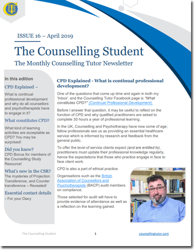 April 2019 Counselling Student newsletter