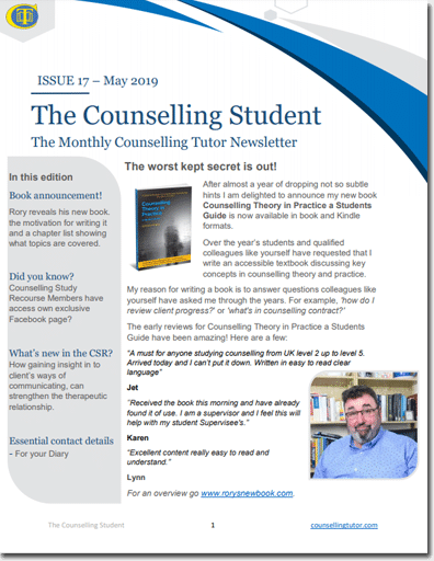 May 2019 Counselling Student newsletter