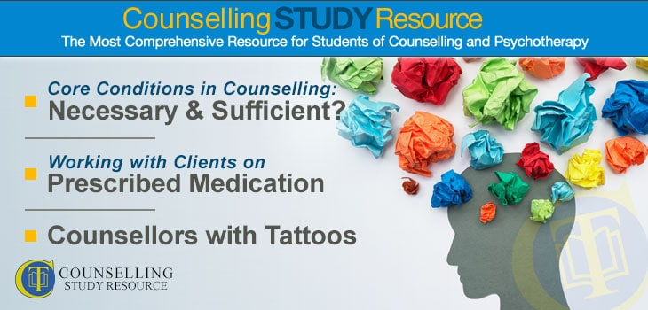 Counselling Tutor Podcast Ep 117 featured image lists the topics discussed - Are the core conditions in counselling necessary and sufficient?; Working with clients on prescribed medication; Counsellors with tattoos. The image also shows a person's profile with crumpled pieces of paper standing for thoughts.