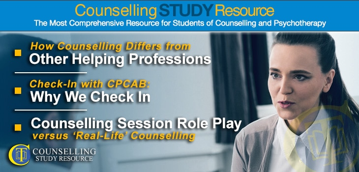 CT Podcast Episode 122 featured image - Topics Discussed: How counselling differs from other helping professions; Why we check in; Counselling session role play versus 'real-life' counselling