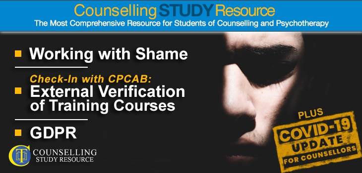 CT Podcast Ep 145 featured image - Topics Discussed: Working with shame in counselling; External verification of training courses; General Data Protection Regulation