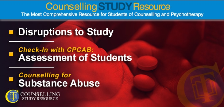 CT Podcast Ep148 featured image - Topics Discussed: Disruptions to counselling study; Assessment of student counsellors; Counselling for substance abuse