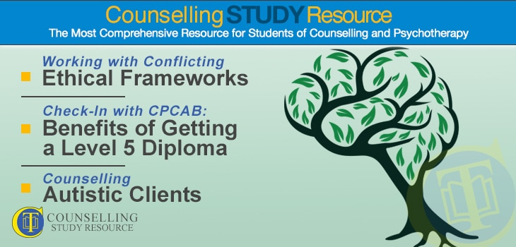 CT Podcast Ep151 featured image - Topics Discussed: Working with conflicting ethical frameworks; Benefits of getting a Level 5 diploma in counselling; Counselling autistic clients