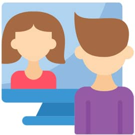 Managing Risk in Online Therapy - icon showing two persons having an online video communication