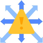 Managing Risk in Online Therapy - triangular alert icon with arrows pointing in various directions