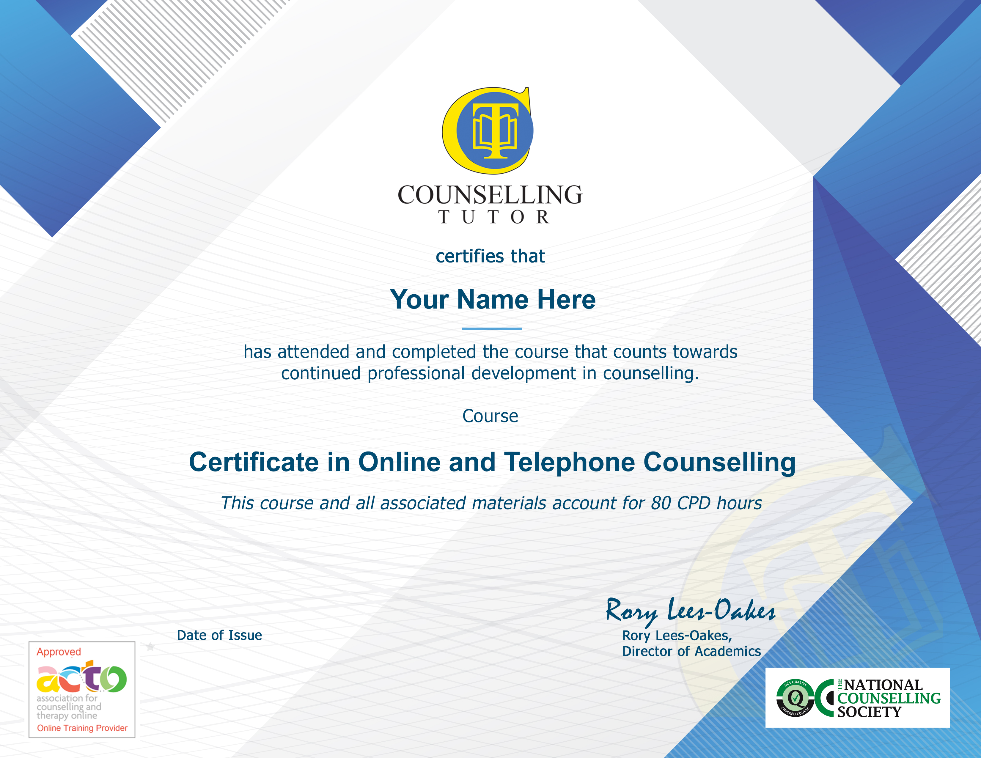 Online Counselling certificate NCS ACTO with name1