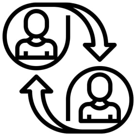 CBT Working Alliance - icon showing two persons and arrows pointing from each person to the other