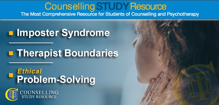 CT Podcast Ep167 featured image – Topics Discussed: Imposter syndrome; Setting therapist boundaries; Ethical problem-solving in counselling practice
