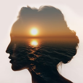History of CBT and the ABCDE Model - CBT is based on the ideas of stoicism, which suggested that negative emotions were generated by errors of thinking. Image shows a calm sea superimposed on a woman's profile