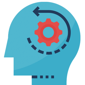 Self-Awareness and Personal Development as a CBT Therapist - icon of a person's head with gears turning to signify thoughts, thinking