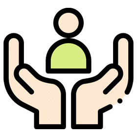 Working Safely, Legally and Ethically in CBT - Icon showing a pair of hands supporting a person