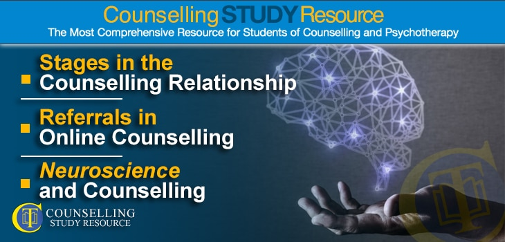 CT Podcast Ep181 featured image - Topics Discussed: Stages in the Counselling Relationship; Making Referrals in Online Therapy; Neuroscience and Counselling