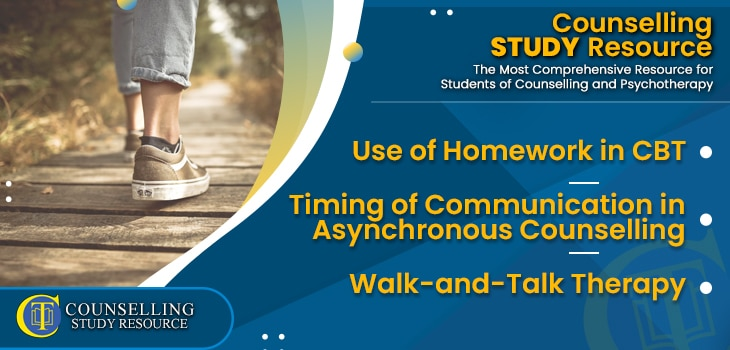 CT Podcast Ep187 featured image - Topics Discussed: Use of Homework in CBT – Timing of Communication in Asynchronous Counselling – Walk-and-Talk Therapy